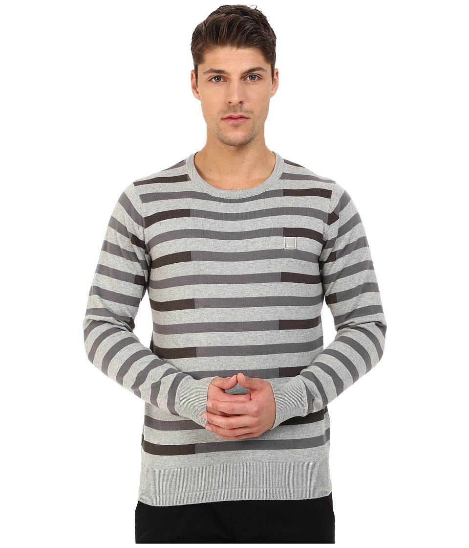 Bench - Stagger Crew Neck Knit (Grey Marl) Men's Clothing