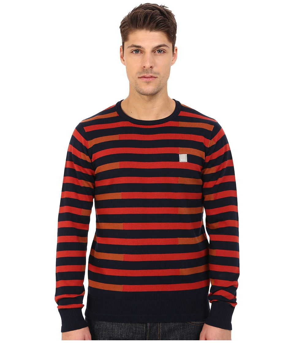 Bench - Stagger Crew Neck Knit (Total Eclipse) Men's Clothing