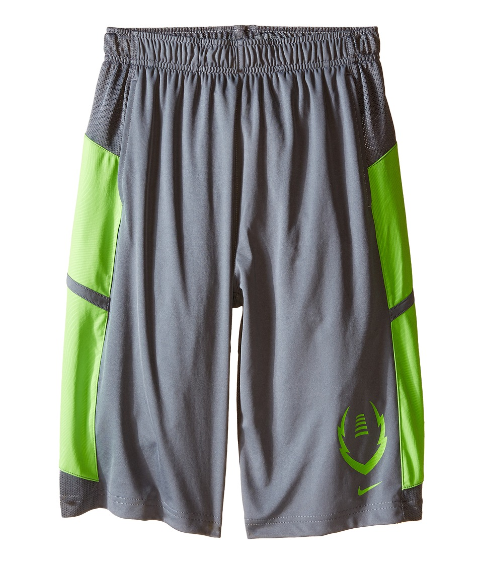 Nike Kids - Football Gear Up Shorts (Little Kids/Big Kids) (Cool Grey/Action Green/Action Green) Boy's Shorts