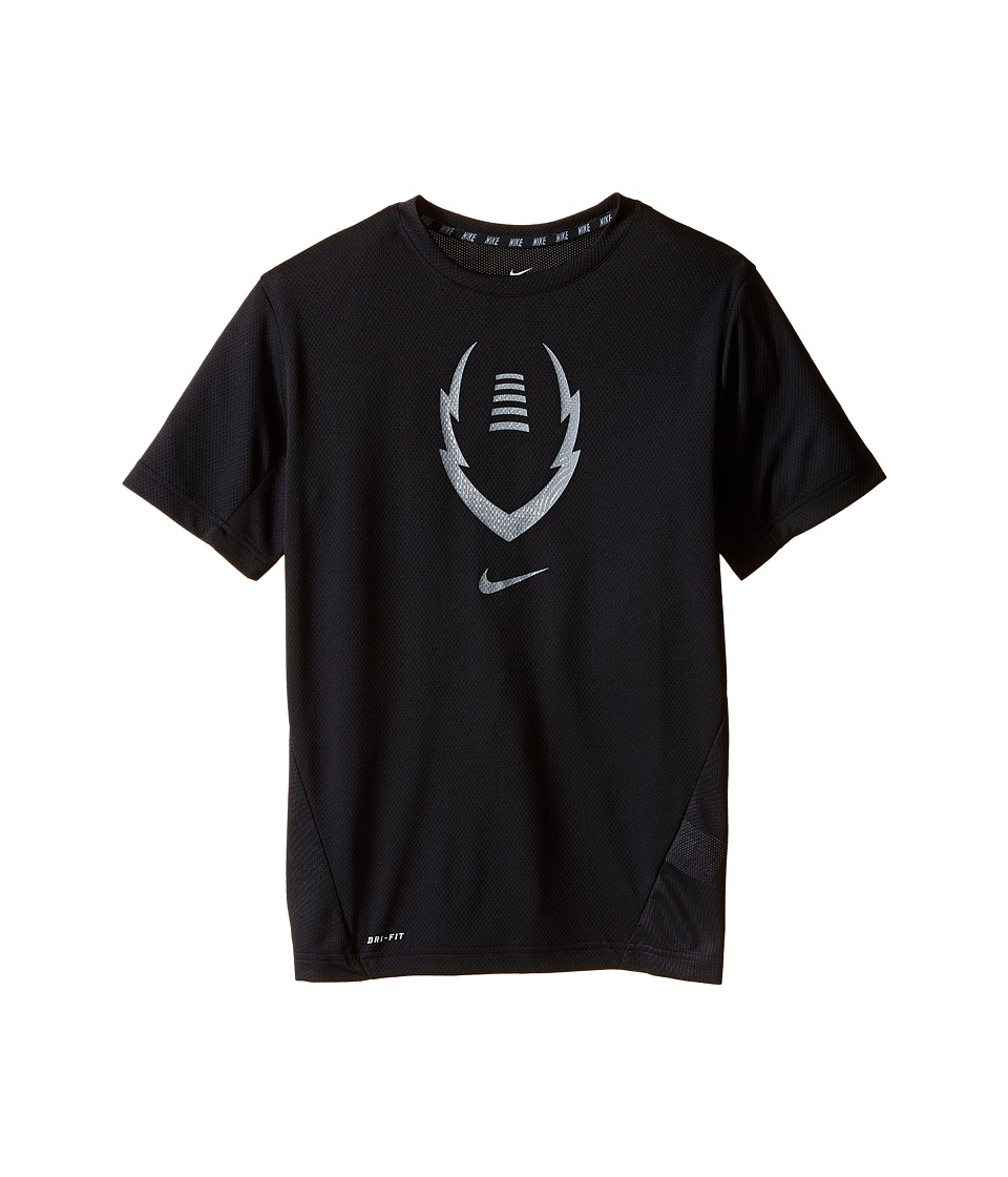Nike Kids - Football Gear Up Short Sleeve Fitted Top (Little Kids/Big Kids) (Black/Cool Grey) Boy's Clothing