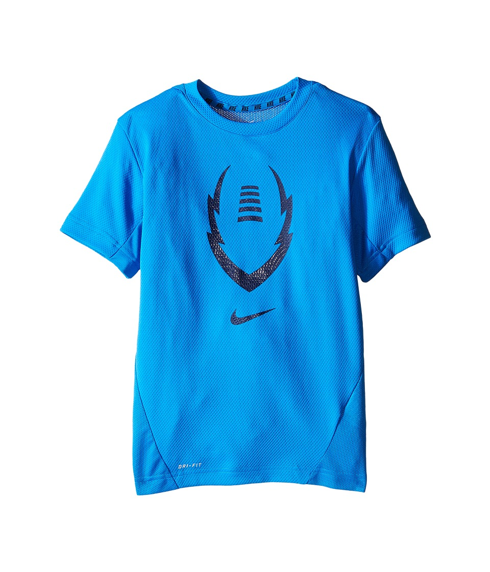 Nike Kids - Football Gear Up Short Sleeve Fitted Top (Little Kids/Big Kids) (Light Photo Blue/Obsidian) Boy's Clothing