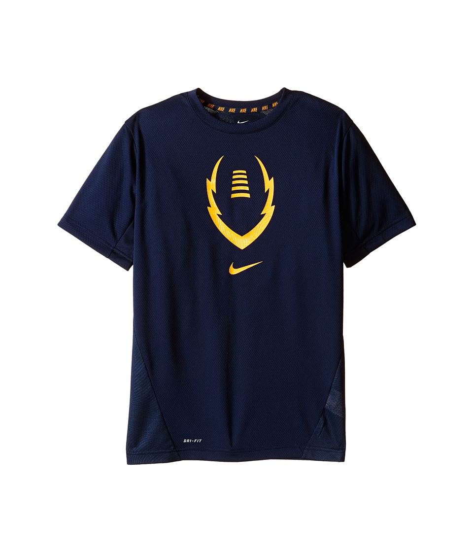 Nike Kids - Football Gear Up Short Sleeve Fitted Top (Little Kids/Big Kids) (Obsidian/Vivid Orange) Boy's Clothing