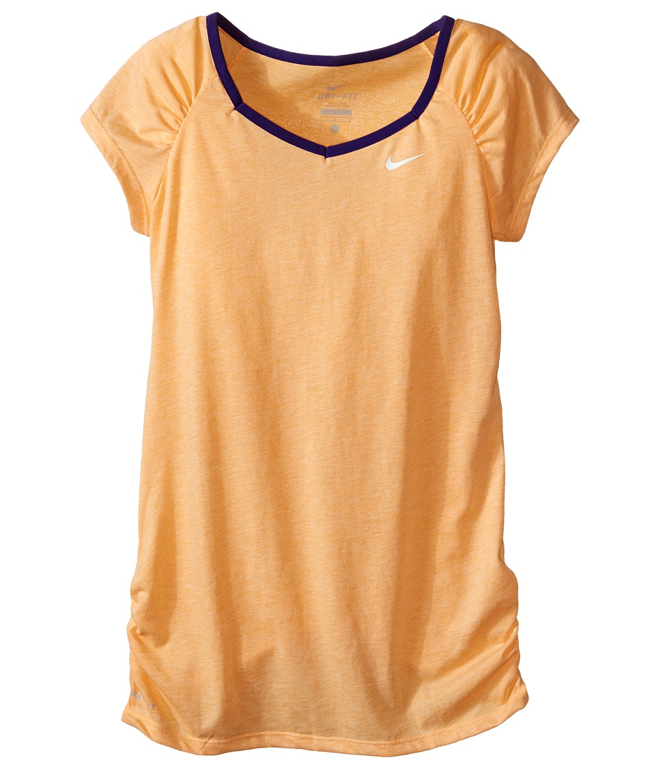 Nike Kids - YA Dri-FIT Cool S/S Top (Little Kids/Big Kids) (Vivid Orange/Court Purple/White) Girl's Short Sleeve Pullover