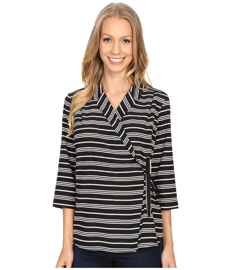 Pendleton - Wrap Shirt (Black Stripe Print) Women's Clothing