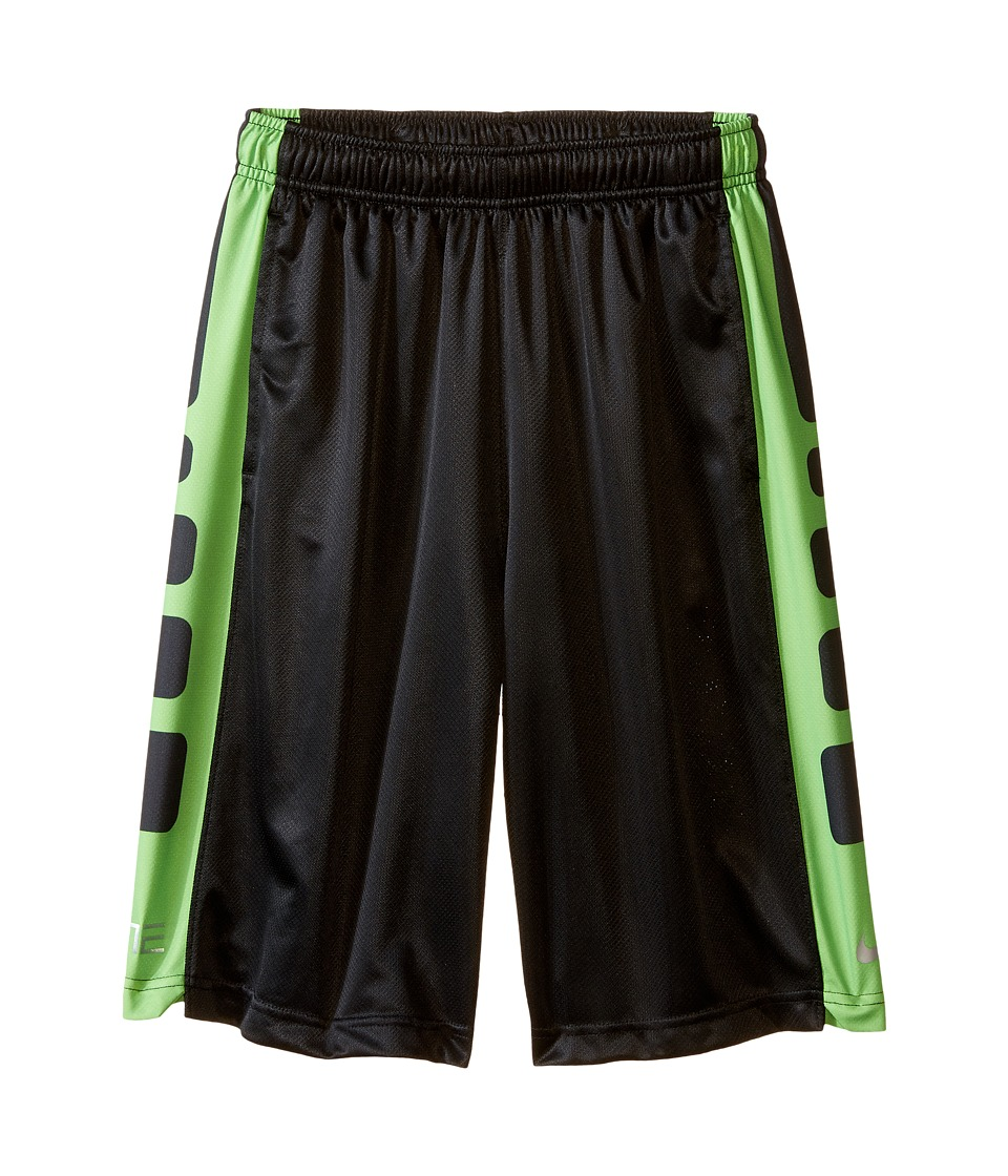 Nike Kids - Elite Stripe Short (Little Kids/Big Kids) (Black/Action Green/Metallic Silver) Boy's Workout