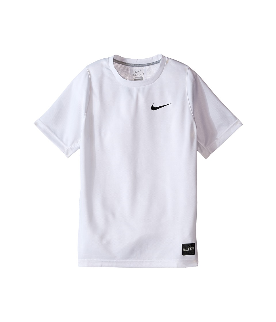 Nike Kids - Elite Basketball Shirt (Little Kids/Big Kids) (White/White/Wolf Grey/Black) Boy's Short Sleeve Pullover