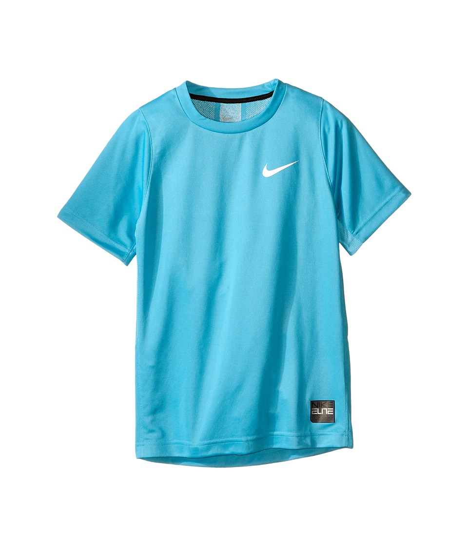 Nike Kids - Elite Basketball Shirt (Little Kids/Big Kids) (Omega Blue/Omega Blue/Black/White) Boy's Short Sleeve Pullover