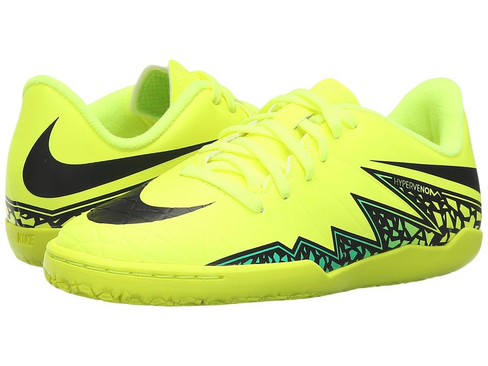 Nike Kids - Jr Hypervenom Phelon II IC Soccer (Toddler/Little Kid/Big Kid) (Volt/Hyper Turquoise/Clear Jade/Black) Kids Shoes