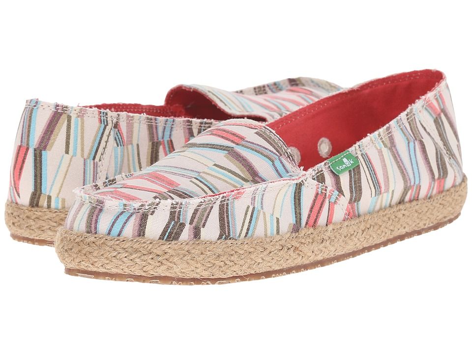 Sanuk - Funky Fiona (Ivory/Spiced Coral Mod Geo) Women's Slip on Shoes
