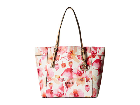 GUESS - Delaney Medium Classic Tote (Berry Multi) Tote Handbags