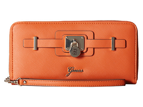 GUESS - Greyson SLG Large Zip Around (Orange) Handbags