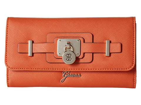 GUESS - Greyson SLG Slim Clutch (Orange) Clutch Handbags