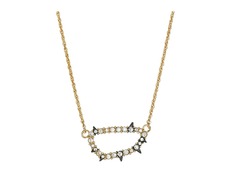Alexis Bittar - Spiked Crystal Link Pendant Necklace (14K Gold/Ruthenium) Necklace