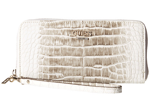 GUESS - Huntley SLG Large Zip Around (Taupe Multi) Clutch Handbags