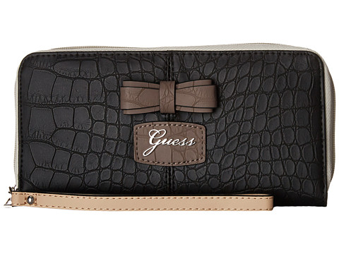 GUESS - Hesperia SLG Large Zip Around Organizer Wristlet (Black Multi) Handbags