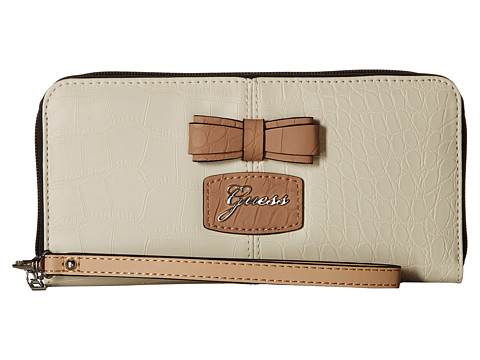 GUESS - Hesperia SLG Large Zip Around Organizer Wristlet (Creme Multi) Handbags