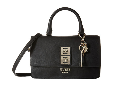 GUESS - Pierce Top Handle Flap (Black) Satchel Handbags