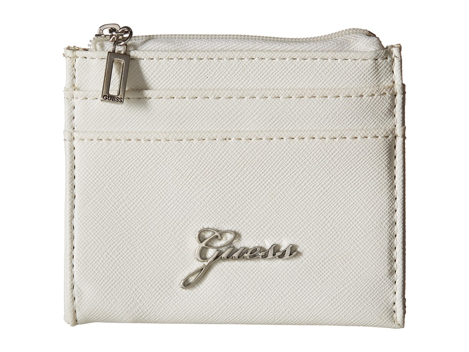 GUESS - Sonja SLG Small Zip Organizer/Wallet (White) Coin Purse