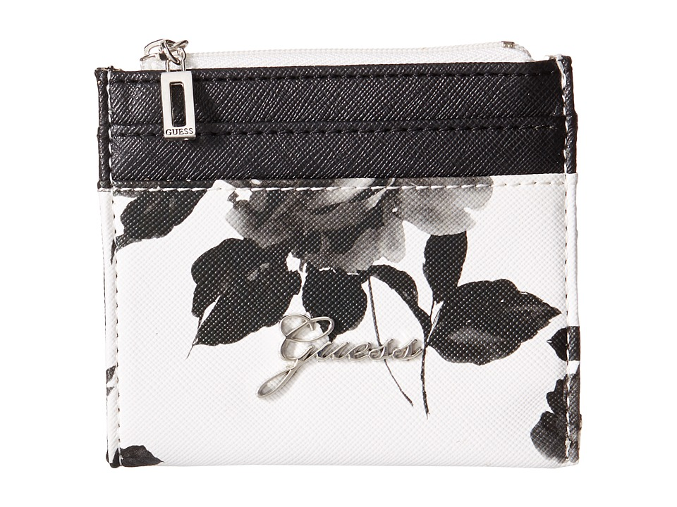 GUESS - Sonja SLG Small Zip Organizer/Wallet (White Multi) Coin Purse