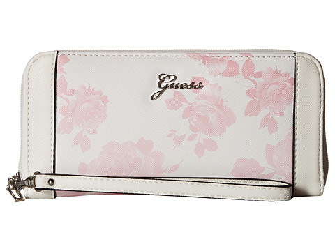 GUESS - Sonja SLG Large Zip Around Organizer Wristlet (Pink Multi) Clutch Handbags