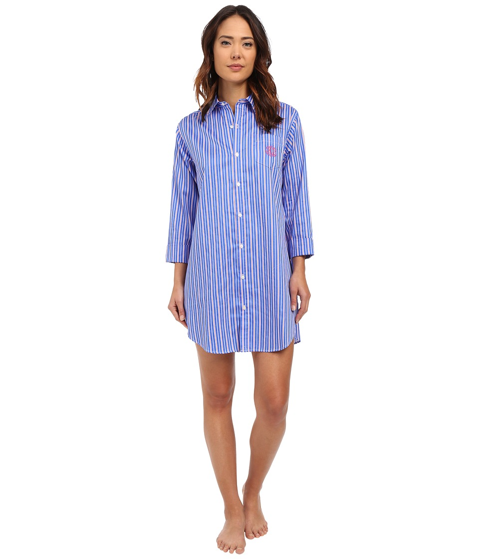LAUREN Ralph Lauren - Sateen 3/4 Sleeve Sleepshirt (Stripe Blue/Pink/White) Women
