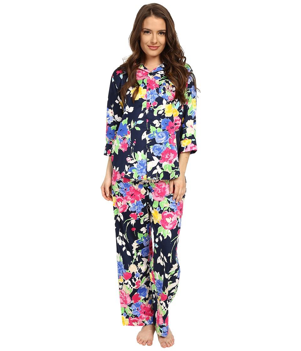 LAUREN Ralph Lauren - Petite Sateen 3/4 Sleeve Pajama (Floral Navy Multi) Women's Pajama Sets