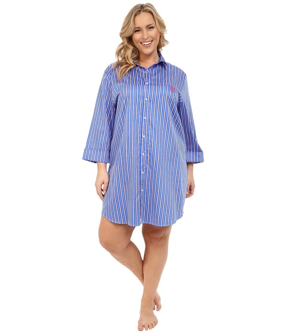 LAUREN Ralph Lauren - Plus Size Sateen 3/4 Sleeve Sleepshirt (Stripe Blue/Pink/White) Women's Pajama
