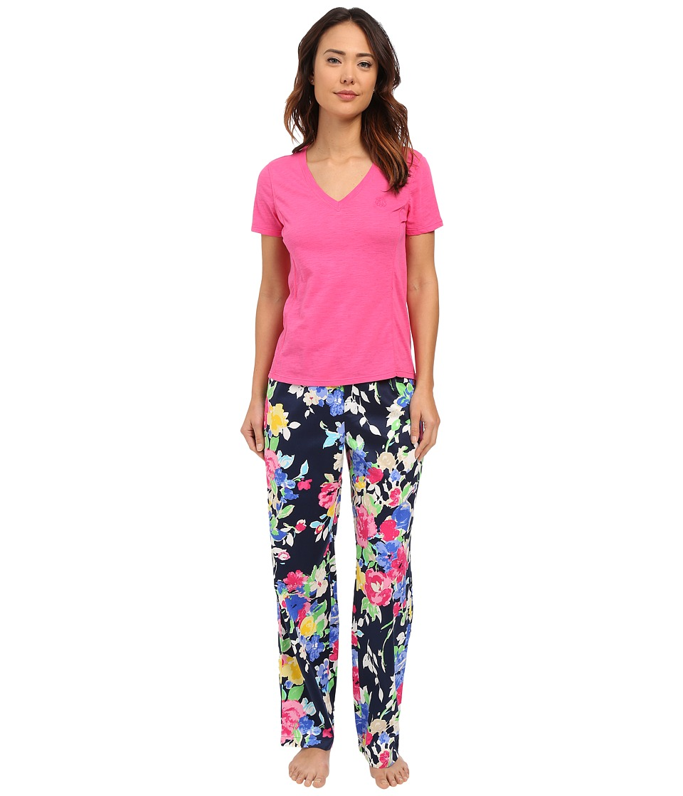 LAUREN Ralph Lauren - Short Sleeve Knit Top w/ Woven Pant Pajama Set (Floral Navy Multi) Women's Pajama Sets