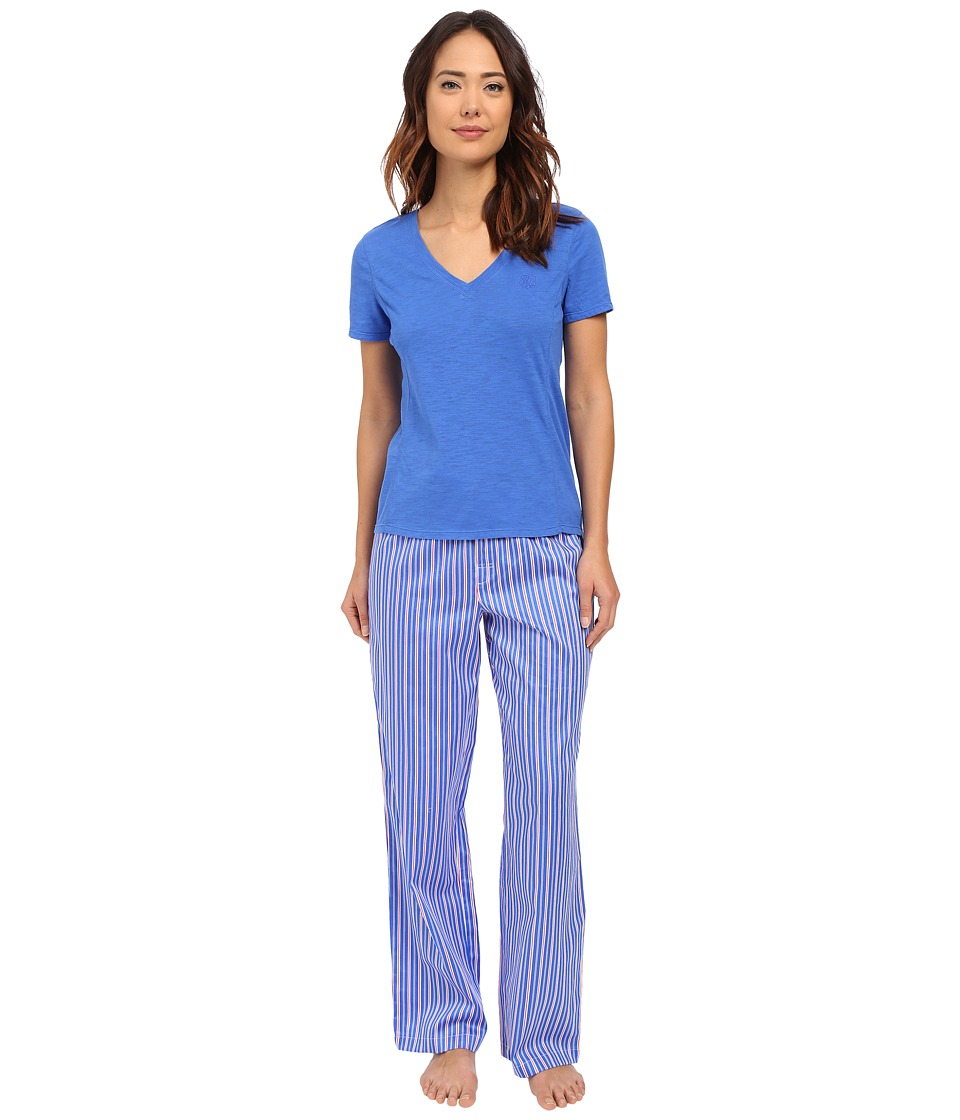 LAUREN Ralph Lauren - Short Sleeve Knit Top w/ Woven Pant Pajama Set (Stripe Blue/Pink/White) Women