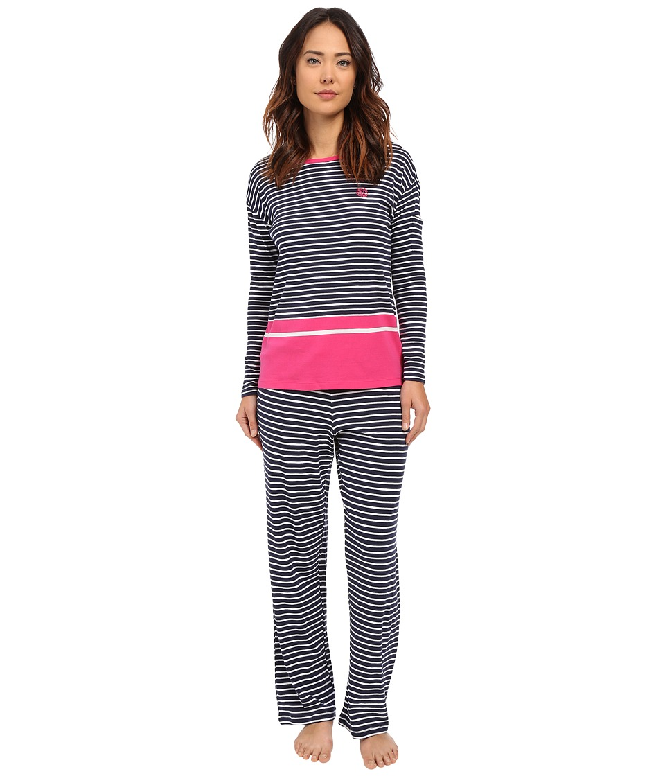LAUREN Ralph Lauren - Striped Long Sleeve Crew Neck Pajama Set (Stripe Navy/White) Women's Pajama Sets