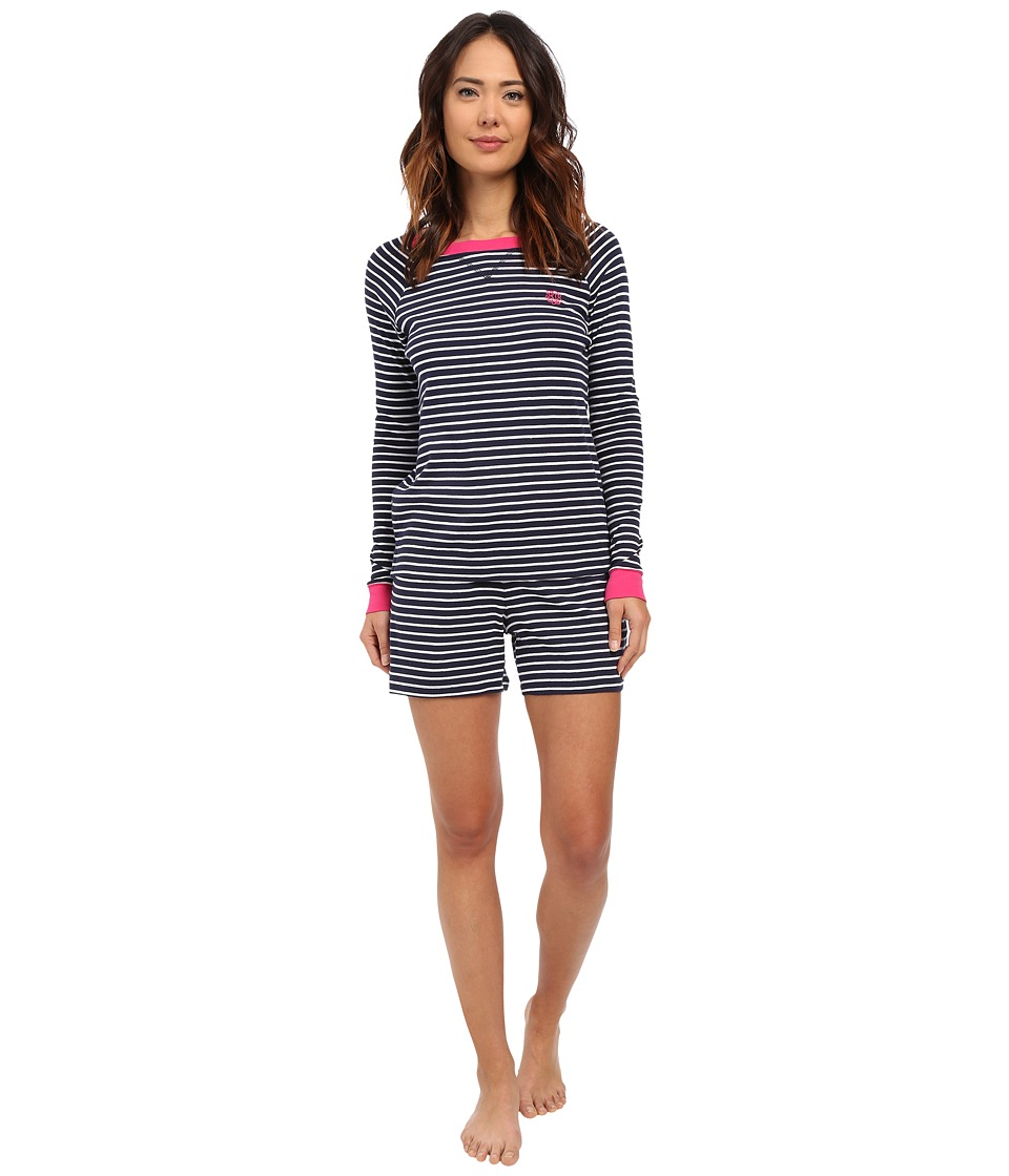 LAUREN Ralph Lauren - Striped Long Sleeve Boxer Pajama Set (Stripe Navy/White) Women's Pajama Sets