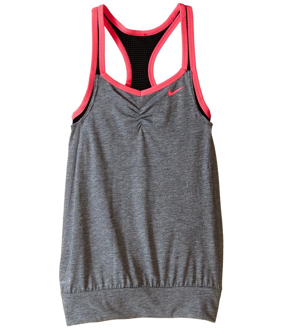 Nike Kids - Dri-FIT Cool 2-1 Cami (Little Kids/Big Kids) (Black Heather/Black/Black/Hyper Pink) Girl's Clothing