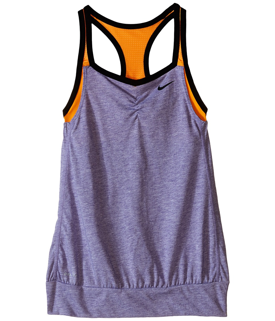 Nike Kids - Dri-FIT Cool 2-1 Cami (Little Kids/Big Kids) (Court Purple/Vivid Orange/Black) Girl's Clothing