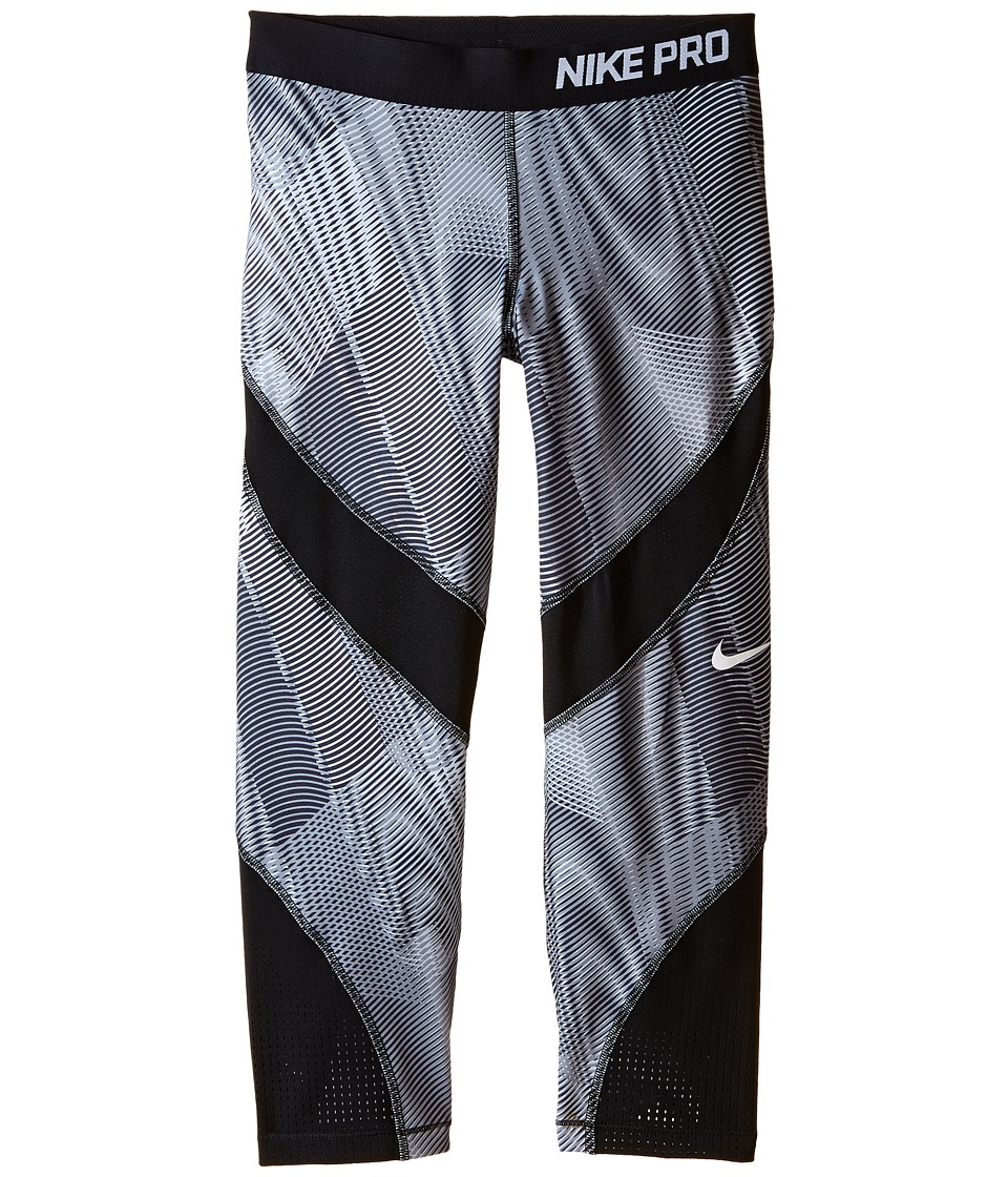 Nike Kids - Pro Hypercool Printed Training Capri (Little Kids/Big Kids) (Dark Grey/Black/Black/White) Girl's Capri