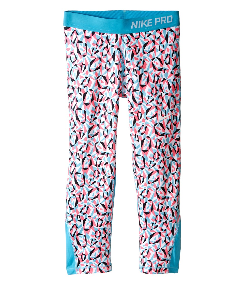 Nike Kids - Pro Cool Allover Print 1 Capri (Little Kids/Big Kids) (White/Omega Blue/Omega Blue/White) Girl's Capri