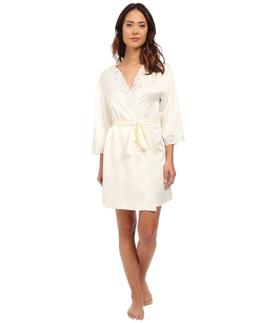 LAUREN Ralph Lauren - Satin Wrap Robe (Ivory) Women's Robe