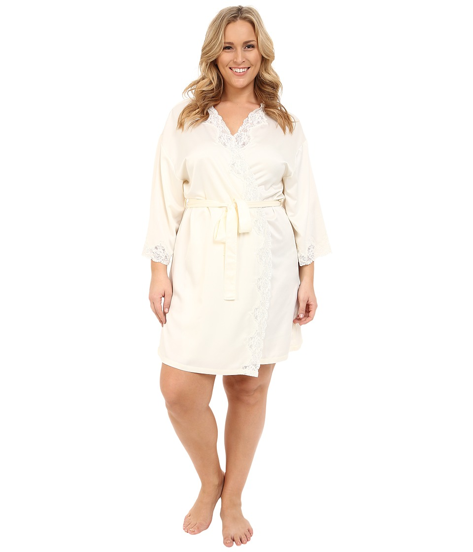 LAUREN Ralph Lauren - Plus Size Satin Wrap Robe (Ivory) Women's Robe
