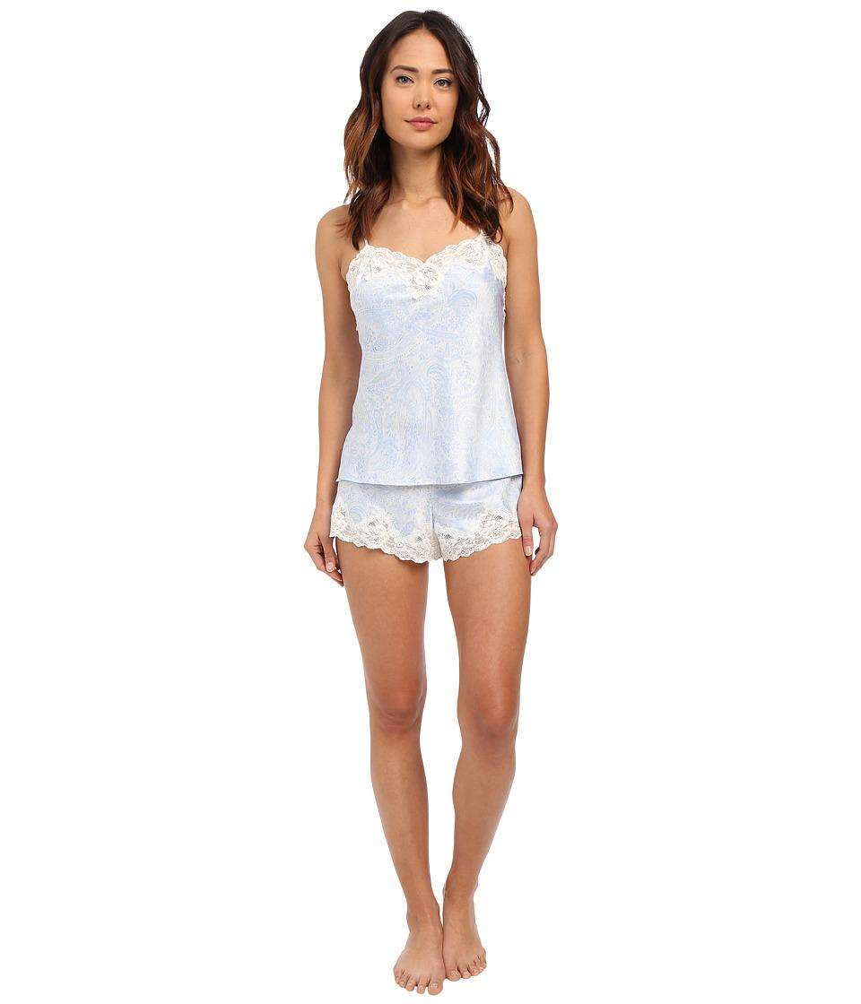 LAUREN Ralph Lauren - Satin Cami Top Pajama Set (Paisley Blue/Ivory Ground) Women's Pajama Sets