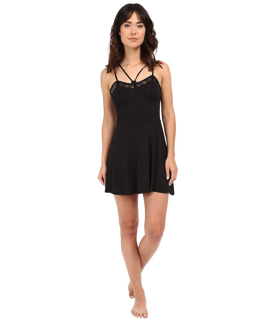 Betsey Johnson - Rayon Knit Lace Slip (Raven Black) Women's Pajama
