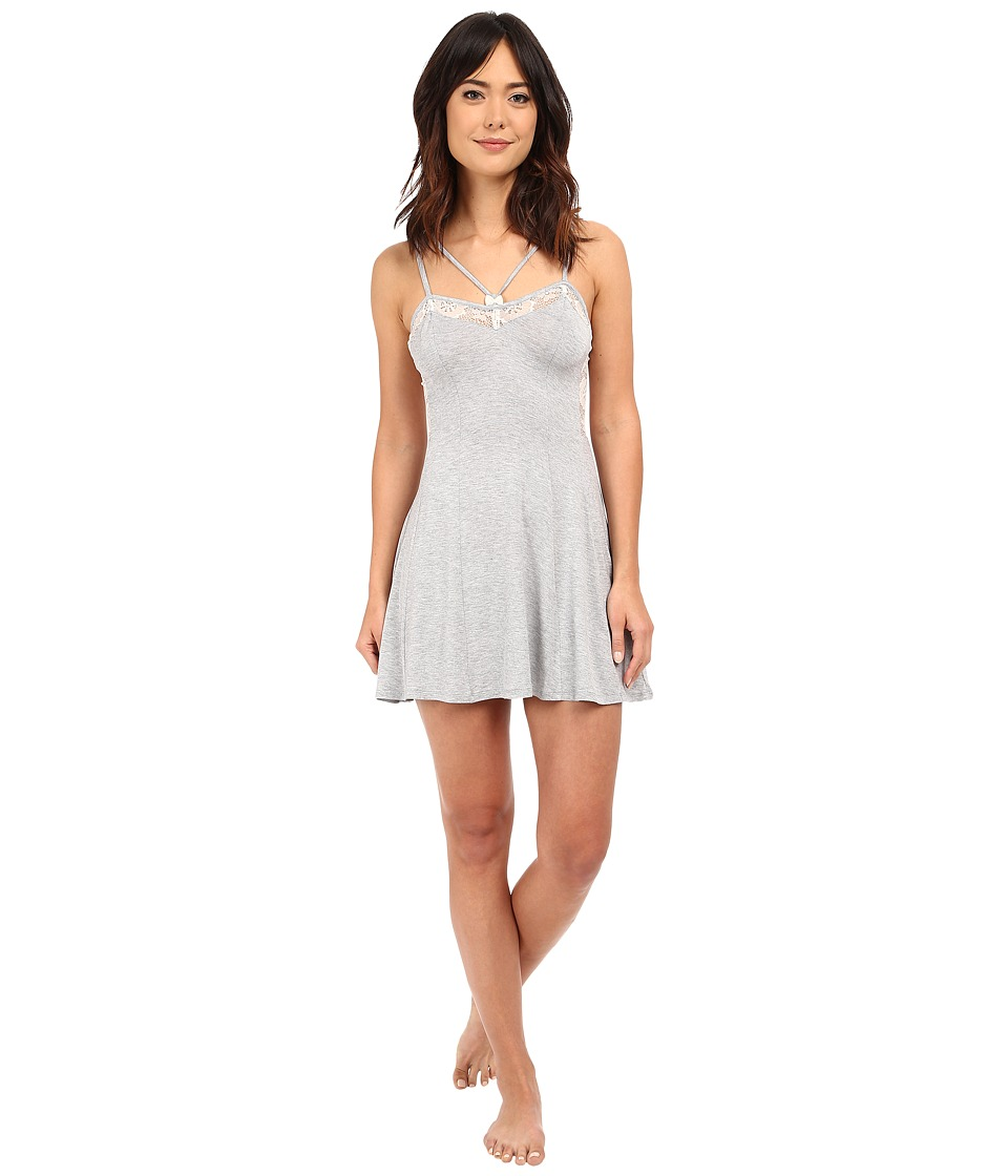 Betsey Johnson - Rayon Knit Lace Slip (Little Buds Heather Grey) Women's Pajama