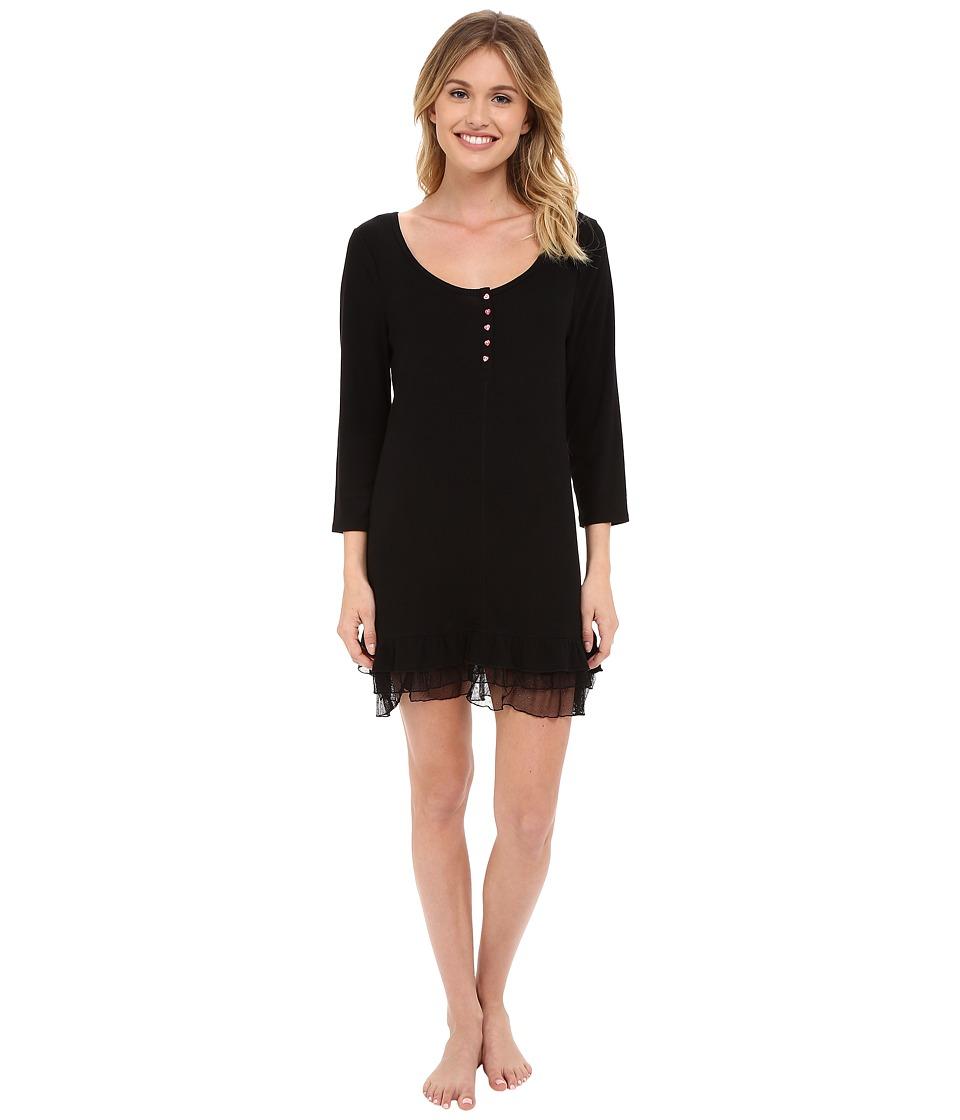 Betsey Johnson - Rib Knit Ruffled Sleepshirt (Raven Black) Women's Pajama