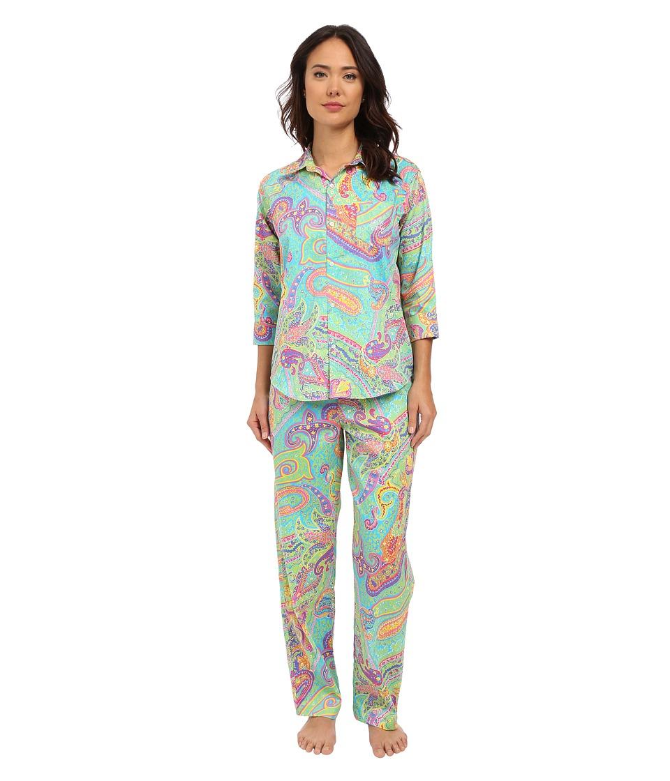 LAUREN Ralph Lauren - Sateen 3/4 Sleeve Pajamas (Paisley Blue/Turqoise Multi) Women's Pajama Sets