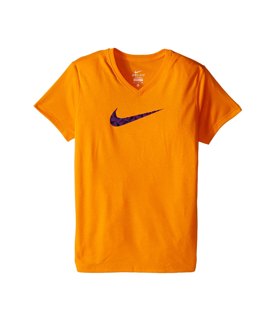 Nike Kids - Legend Short Sleeve Top Fill V-Neck (Little Kids/Big Kids) (Vivid Orange) Girl's Clothing