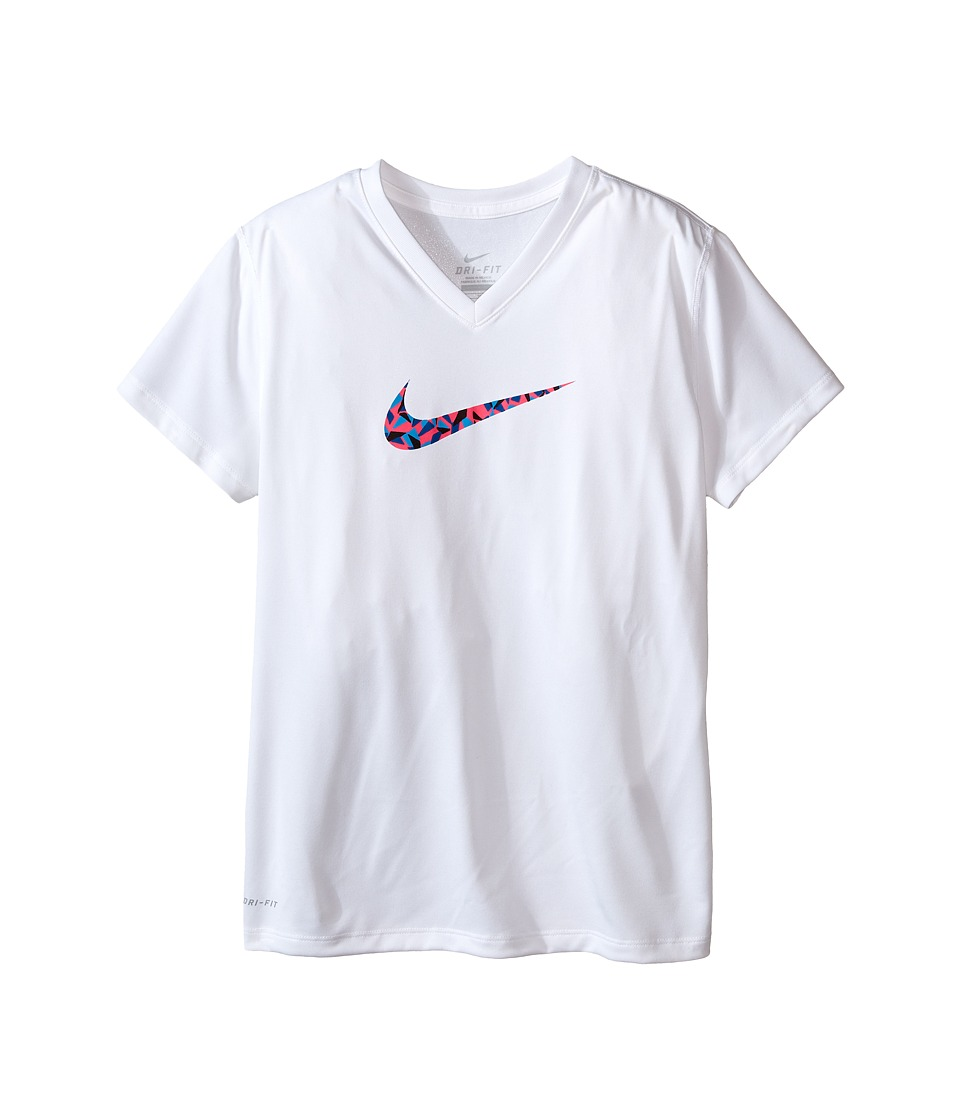 Nike Kids - Legend Short Sleeve Top Fill V-Neck (Little Kids/Big Kids) (White/Hyper Pink) Girl's Clothing