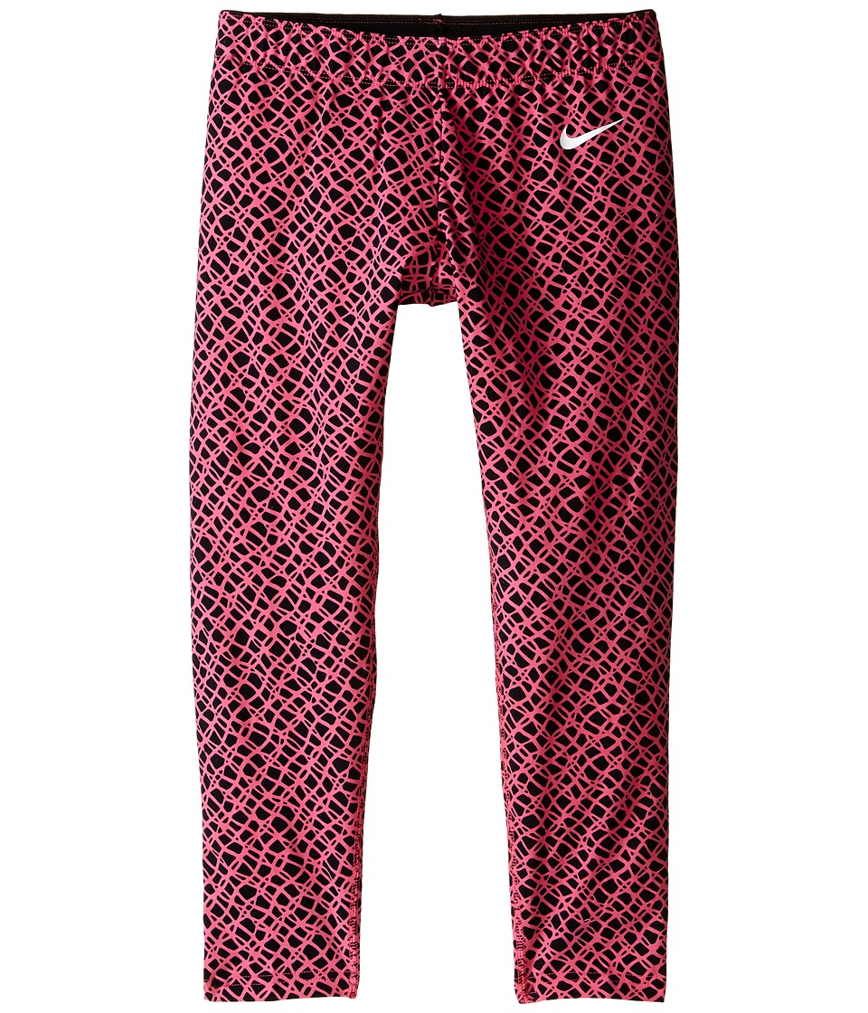 Nike Kids - Club Leggings - Crop AOP (Little Kids/Big Kids) (Black/Digital Pink/White) Girl's Casual Pants