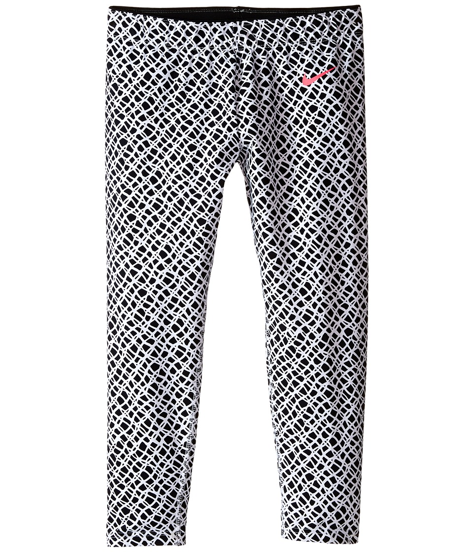 Nike Kids - Club Leggings - Crop AOP (Little Kids/Big Kids) (White/Hyper Pink) Girl's Casual Pants