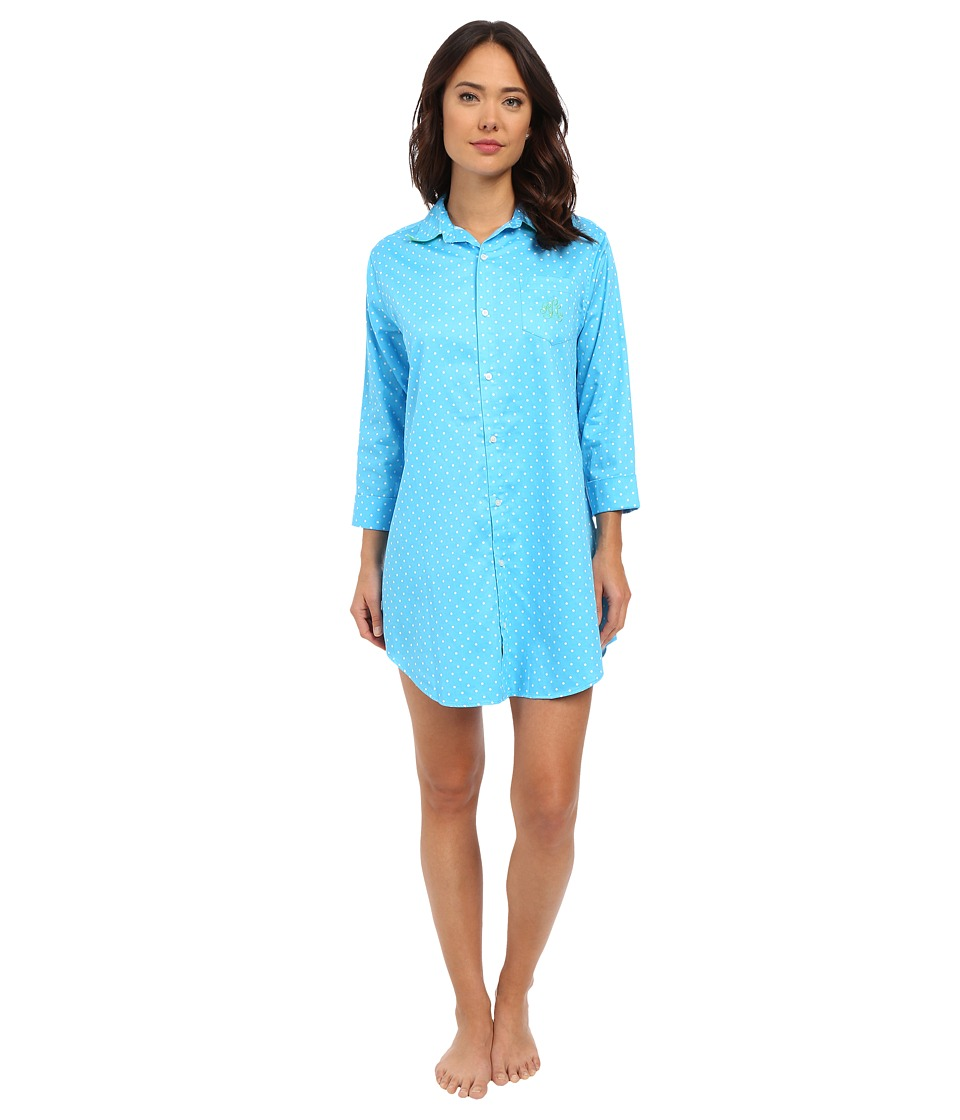 LAUREN Ralph Lauren - Sateen 3/4 Sleeve Sleepshirt (Dot Turquoise/White) Women