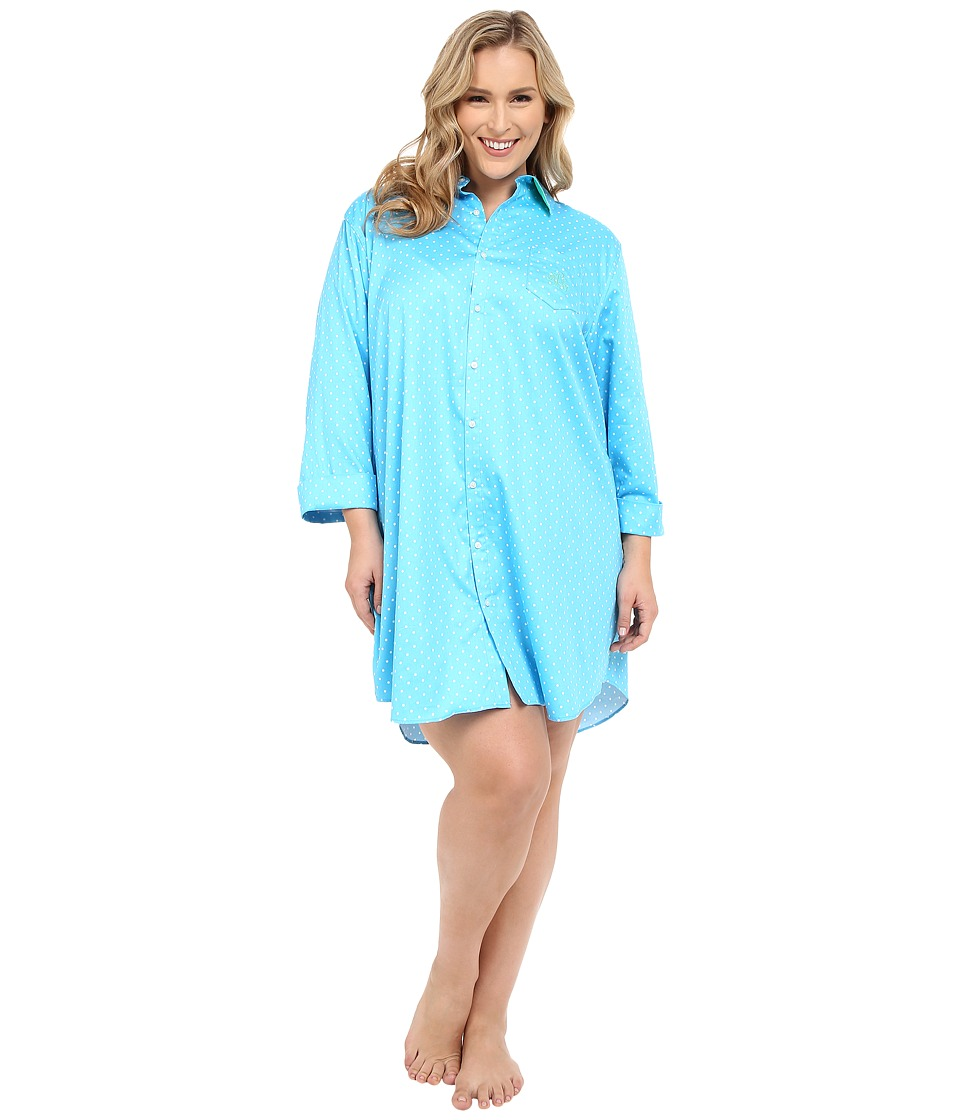 LAUREN Ralph Lauren - Plus Size Sateen 3/4 Sleeve Sleepshirt (Dot Turquoise/White) Women