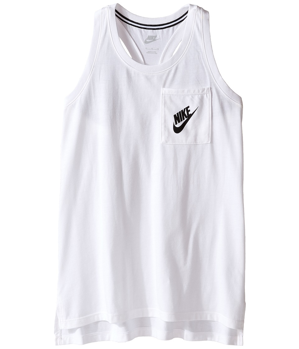 Nike Kids - Signal Tank Top (Little Kids/Big Kids) (White/Black) Girl's Clothing