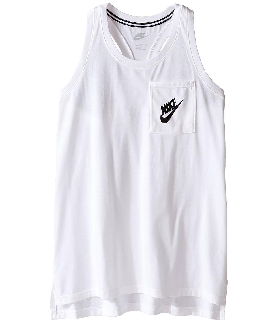 Nike Kids - Signal Tank Top (Little Kids/Big Kids) (White/Black) Girl's Clothing